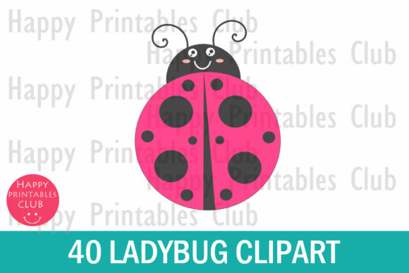 Print on Demand: Lady Bug Clipart- Cute Lady Bug Clipart Graphic Illustrations By Happy Printables Club - Image 2