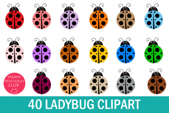 Print on Demand: Lady Bug Clipart- Cute Lady Bug Clipart Graphic Illustrations By Happy Printables Club