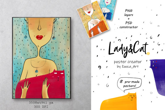 Print on Demand: Lady&Cat - Poster Constructor Graphic Illustrations By Zooza Art