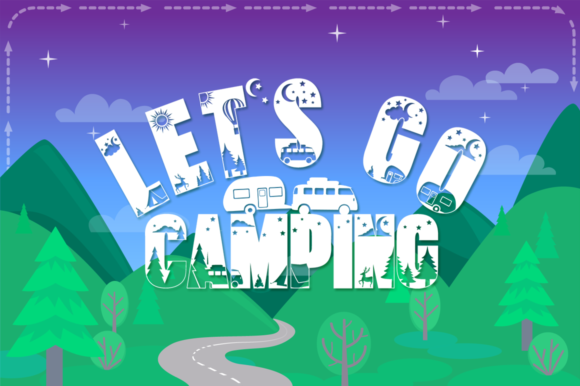 Print on Demand: Let's Go Camping Display Schriftarten von Anastasia Feya