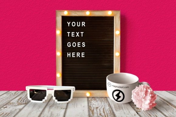 Letter Board and Mug Product Mock Up Gráfico Mockups de Productos Por RisaRocksIt