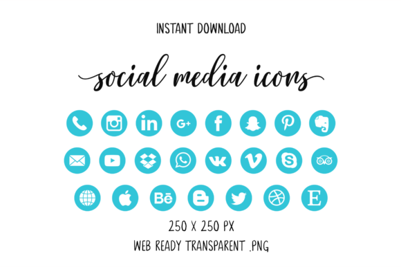 Light Blue Social Media Icons Graphic By The Branding Place