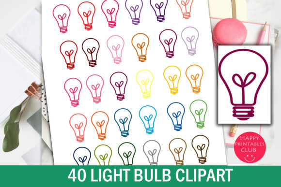 Print on Demand: Light Bulb Clipart-Colorful Bulbs Graphic Illustrations By Happy Printables Club