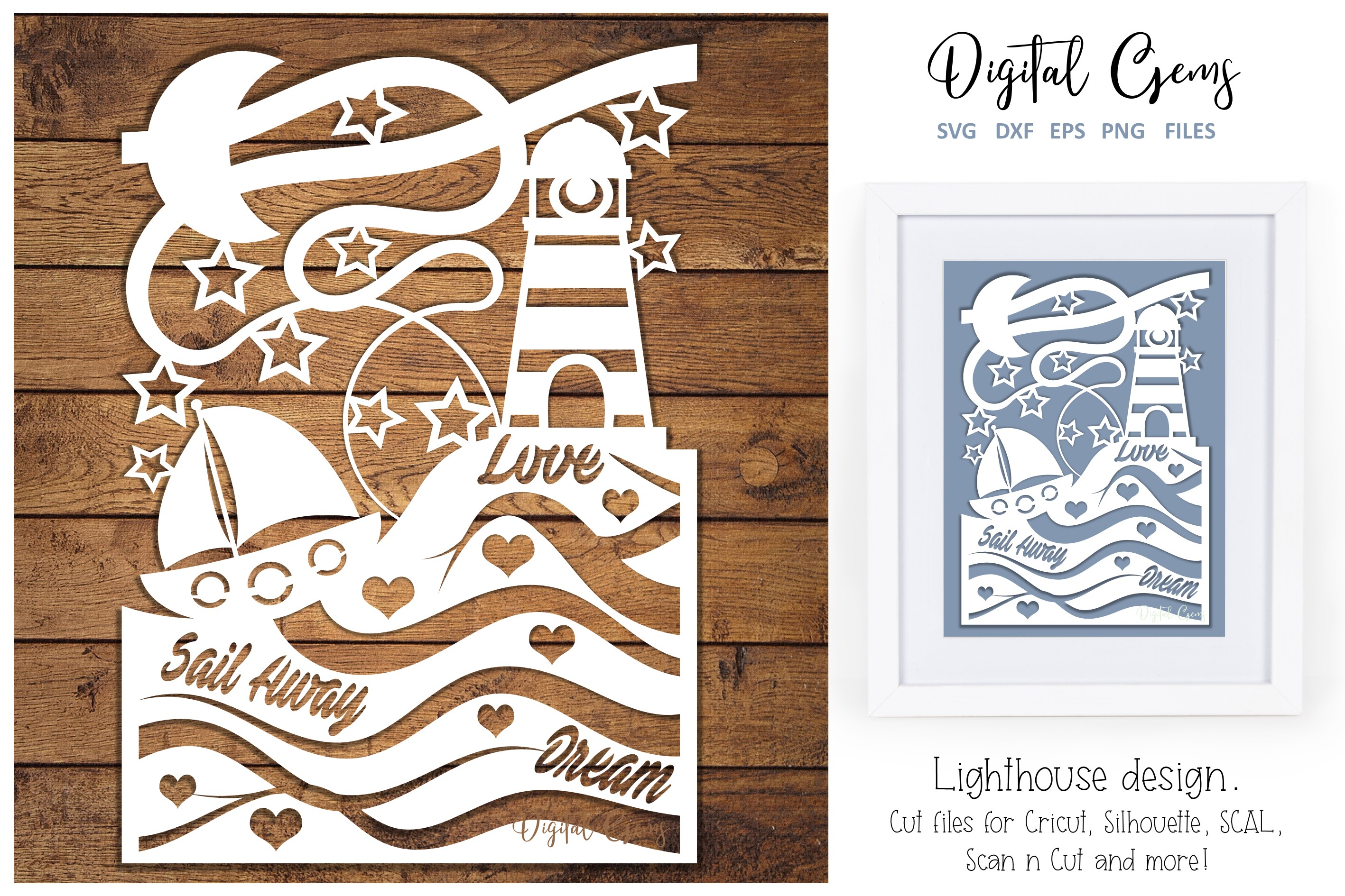 Download Free Lighthouse Paper Cut Design Graphic By Digital Gems Creative for Cricut Explore, Silhouette and other cutting machines.