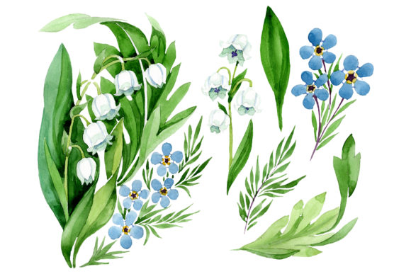 Print on Demand: Lily of the Valley and Forget-me-nots Graphic Illustrations By MyStocks