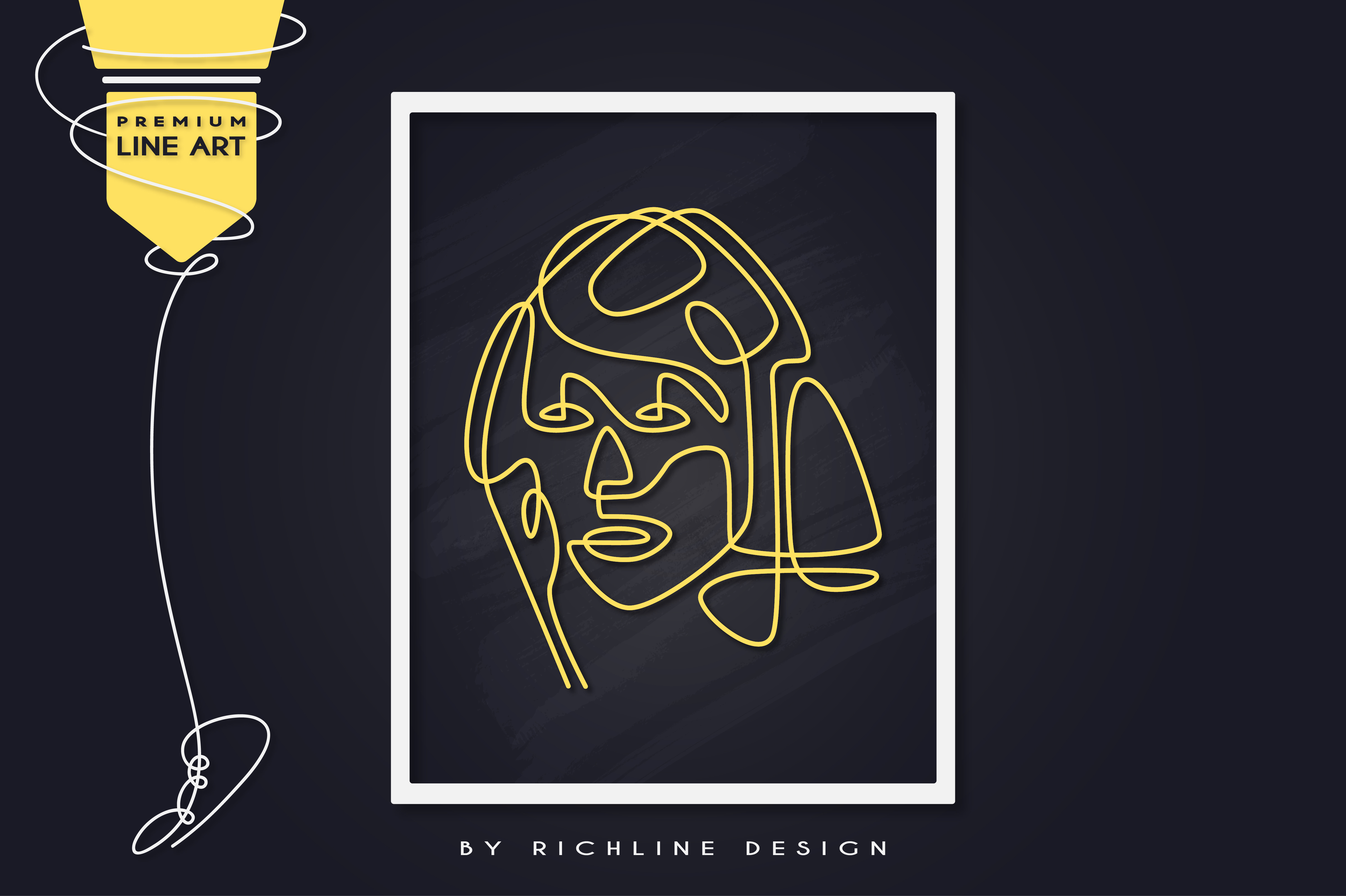 Download Free Line Art Poster Face Beautiful Graphic By Richline Design for Cricut Explore, Silhouette and other cutting machines.