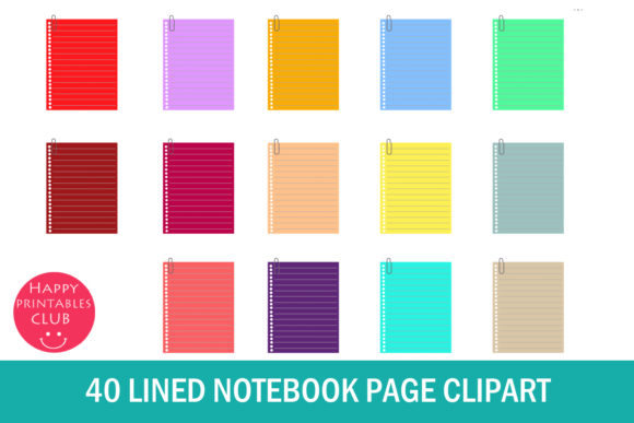Download Free Lined Notebook Page Clipart Notebook Graphic By Happy for Cricut Explore, Silhouette and other cutting machines.