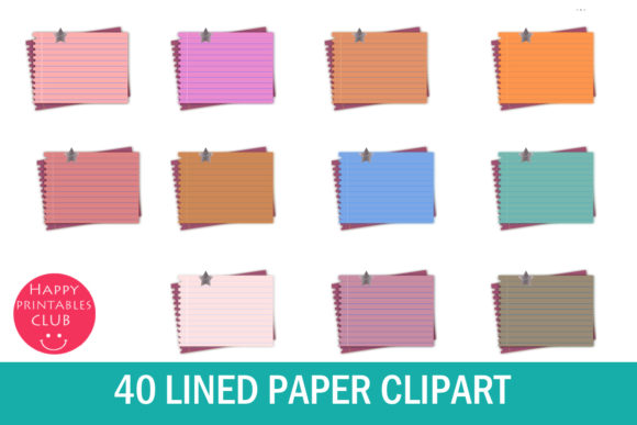 Print on Demand: Lined Paper Clipart -Notes Paper Clipart Graphic Illustrations By Happy Printables Club