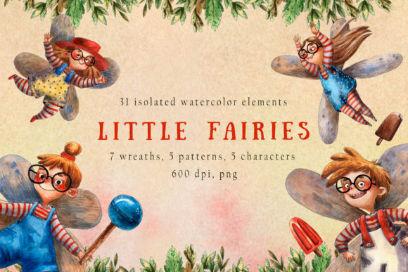 Little Fairies - Watercolor Clip Art Set Graphic By mashamashastu