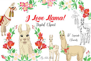 Llama Digital Clipart with Red Flowers Graphic By natalia.piacheva