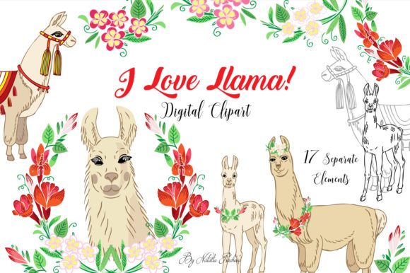 Print on Demand: Llama Digital Clipart with Red Flowers Graphic Illustrations By natalia.piacheva