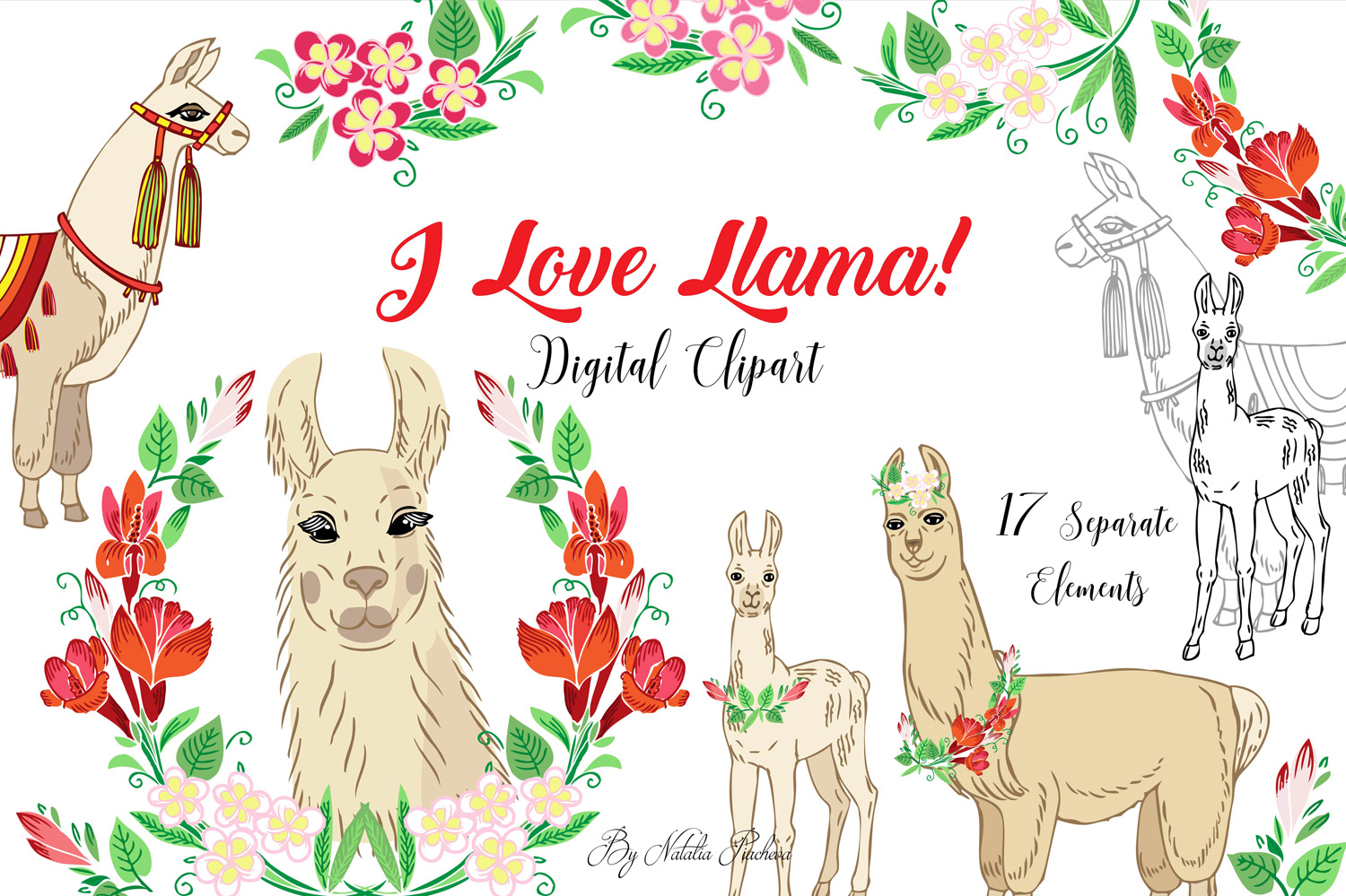 Download Free Llama Digital Clipart With Red Flowers Graphic By Natalia for Cricut Explore, Silhouette and other cutting machines.