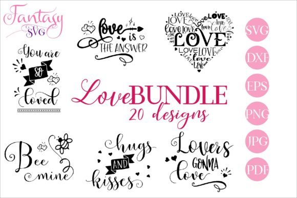 Print on Demand: Love Bundle - Cut Files Graphic Crafts By Fantasy SVG