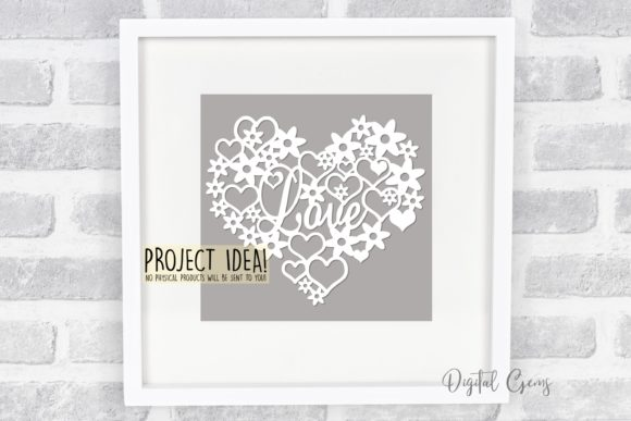 Download Free Love Heart Paper Cut Design Graphic By Digital Gems Creative for Cricut Explore, Silhouette and other cutting machines.