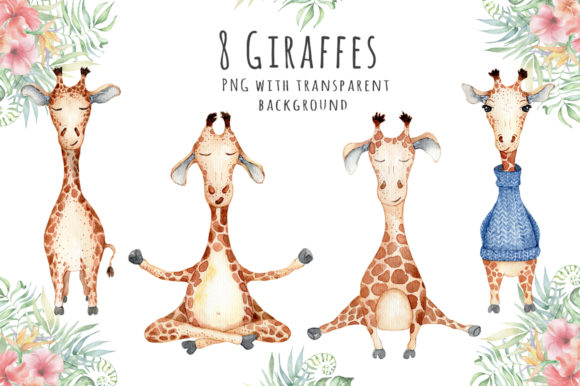 Lovely Giraffes Watercolor Illustration Graphic Illustrations By EvgeniiasArt - Image 2