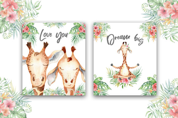 Lovely Giraffes Watercolor Illustration Graphic Illustrations By EvgeniiasArt - Image 13
