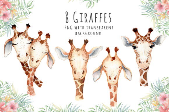 Lovely Giraffes Watercolor Illustration Graphic Illustrations By EvgeniiasArt - Image 3