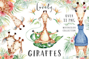 Download Free Lovely Giraffes Watercolor Illustration Graphic By Evgeniiasart for Cricut Explore, Silhouette and other cutting machines.