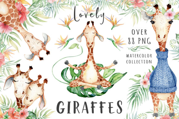 Lovely Giraffes Watercolor Illustration Graphic Illustrations By EvgeniiasArt