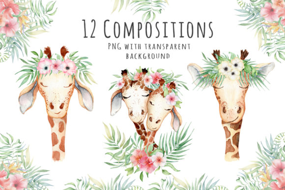 Lovely Giraffes Watercolor Illustration Graphic Illustrations By EvgeniiasArt - Image 7