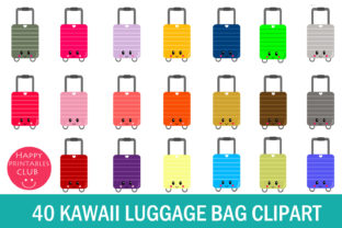 Download Free Luggage Bag Clipart Suitcase Clipart Graphic By Happy for Cricut Explore, Silhouette and other cutting machines.