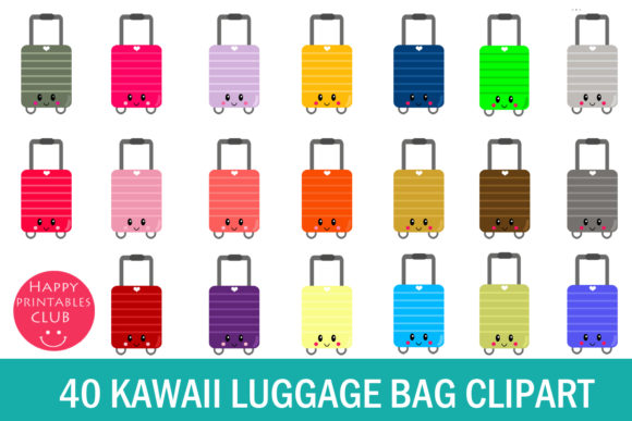 Print on Demand: Luggage Bag Clipart- Suitcase Clipart Graphic Illustrations By Happy Printables Club