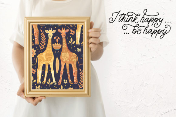 Print on Demand: Magic Giraffes. Folk Art Graphic Set. Graphic Illustrations By Red Ink - Image 11