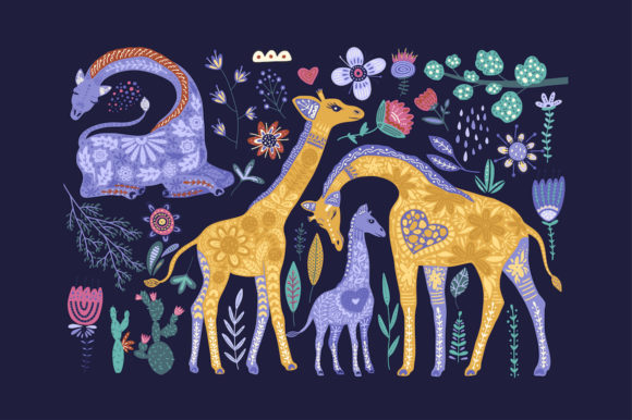 Print on Demand: Magic Giraffes. Folk Art Graphic Set. Graphic Illustrations By Red Ink - Image 3
