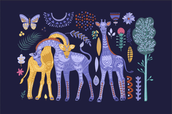 Print on Demand: Magic Giraffes. Folk Art Graphic Set. Graphic Illustrations By Red Ink - Image 4