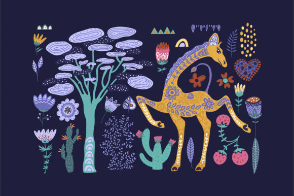 Print on Demand: Magic Giraffes. Folk Art Graphic Set. Graphic Illustrations By Red Ink - Image 5