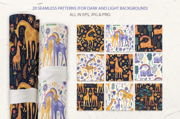 Print on Demand: Magic Giraffes. Folk Art Graphic Set. Graphic Illustrations By Red Ink - Image 6