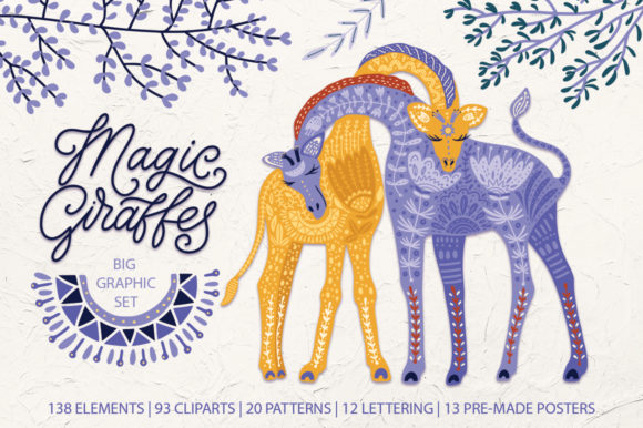 Magic Giraffes. Folk Art Graphic Set. Graphic By Red Ink