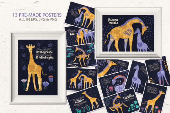 Print on Demand: Magic Giraffes. Folk Art Graphic Set. Graphic Illustrations By Red Ink - Image 7
