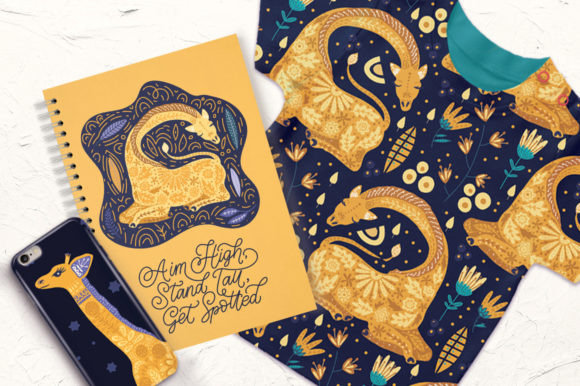Print on Demand: Magic Giraffes. Folk Art Graphic Set. Graphic Illustrations By Red Ink - Image 9