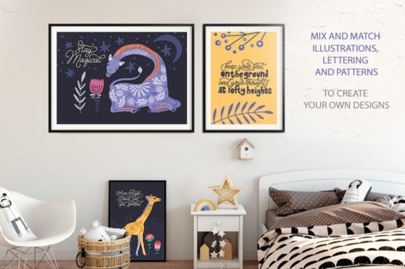 Print on Demand: Magic Giraffes. Folk Art Graphic Set. Graphic Illustrations By Red Ink - Image 10