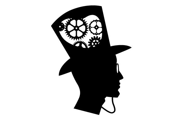 Download Free Man S Profile Silhouette With A Monocle And A Top Hat And Gears for Cricut Explore, Silhouette and other cutting machines.