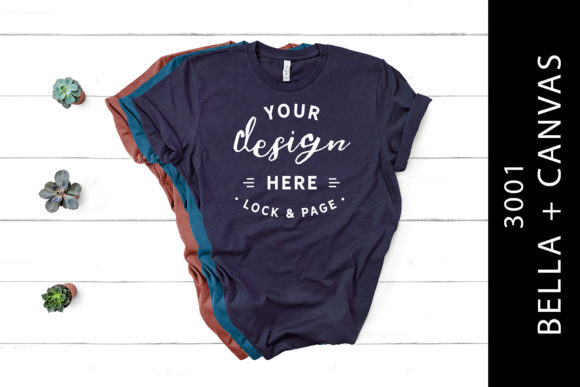 Mauve Teal Navy Bella Canvas 3001 Mockup Graphic Product Mockups By lockandpage