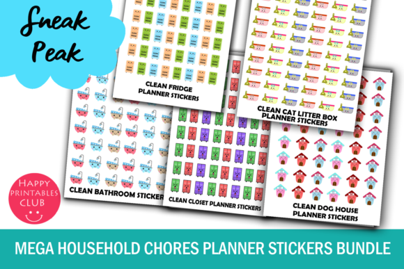 Download Free Mega Household Chores Planner Stickers Graphic By Happy for Cricut Explore, Silhouette and other cutting machines.