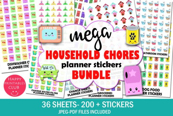 Print on Demand: Mega Household Chores Planner Stickers Graphic Illustrations By Happy Printables Club