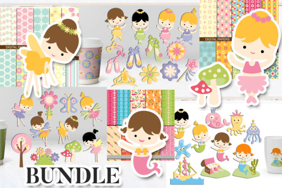 Mermaid and Ballerina Bundle Graphic By Revidevi Image 2