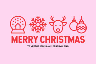 Merry Christmas | Line Icons Vector Graphic By abstractocreate