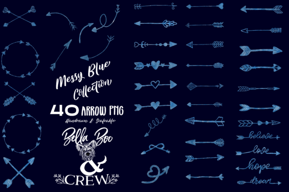 Print on Demand: Messy Blue Arrow Collection Graphic Objects By BellaBoo