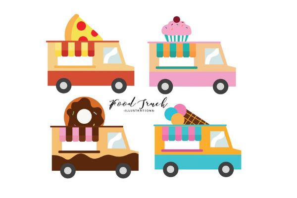 Download Free Mini Food Truck Illustrations Graphic By Rainbowgraphicx for Cricut Explore, Silhouette and other cutting machines.