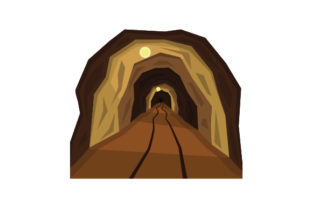 Mining Tunnel with Train Tracks and Lights Work Craft Cut File By Creative Fabrica Crafts