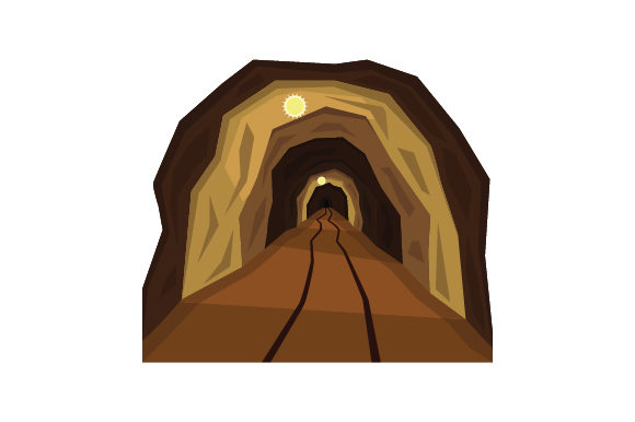 Download Free Mining Tunnel With Train Tracks And Lights Svg Cut File By SVG Cut Files