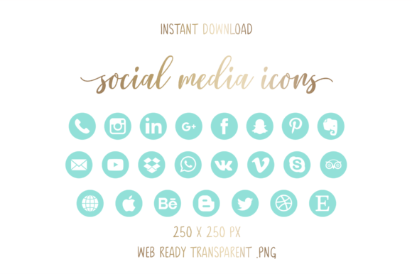 Mint Social Media Icons Graphic Icons By The Branding Place