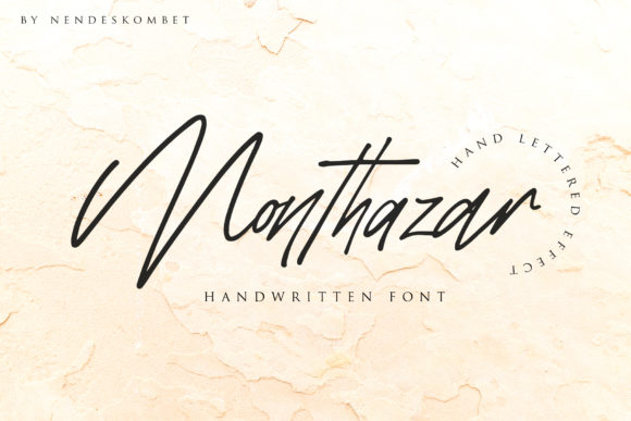 Print on Demand: Monthazar Script & Handwritten Font By NendesKombet