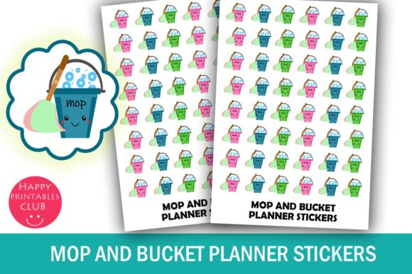 Print on Demand: Mop and Bucket Cleaning Planner Stickers Graphic Illustrations By Happy Printables Club - Image 1