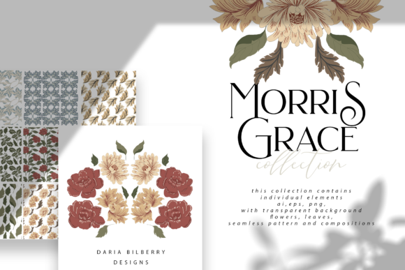 Morris Grace Collection Graphic Illustrations By BilberryCreate