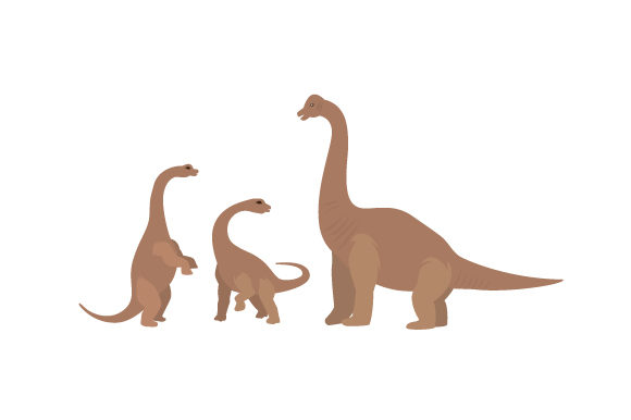 Mother Brachiosaurus with Two Baby Dinosaurs Dinosaurs Craft Cut File By Creative Fabrica Crafts